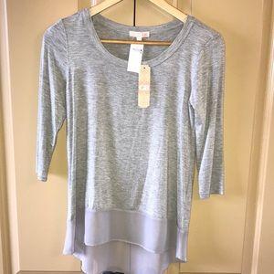 NWT Gianni Bini Shirt Top in Grey & 3/4 Sleeves